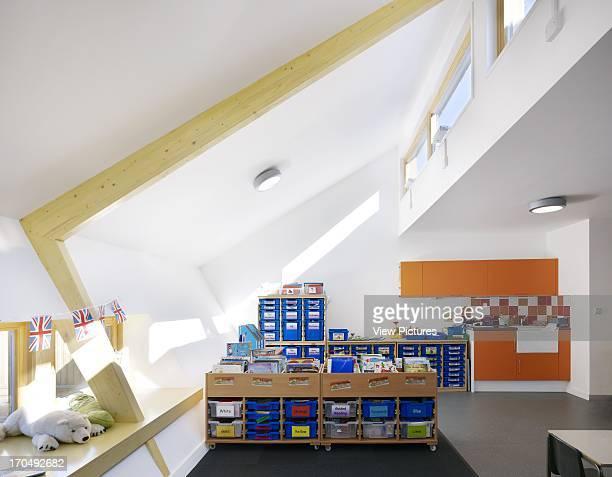 Extension interior classroom school children studying Dulwich Village Infant School London United Kingdom Architect Cazenove Architects 2012
