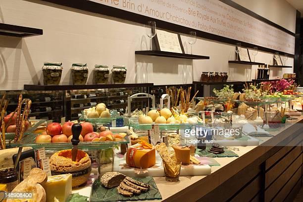Extensive cheese buffet at the Millennium Hilton Hotel.