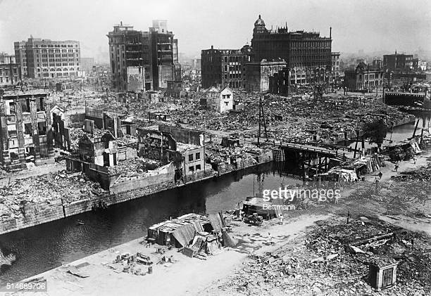Extensive damage and destruction to the main shopping district in Tokyo after the Kanto Earthquake in 1923