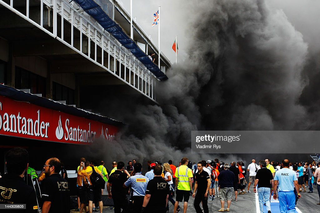 Extensive damage is caused as a fire breaks out at the back of the Williams team garage after they celebrated winning the Spanish Formula One Grand Prix at the Circuit de Catalunya on May 13, 2012 in Barcelona, Spain.