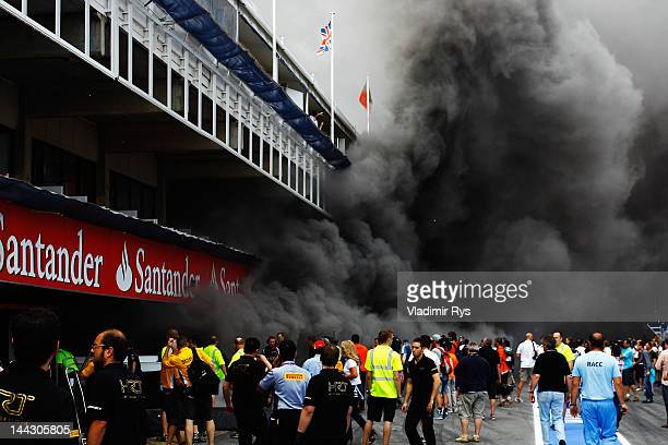 Extensive damage is caused as a fire breaks out at the back of the Williams team garage after they celebrated winning the Spanish Formula One Grand...