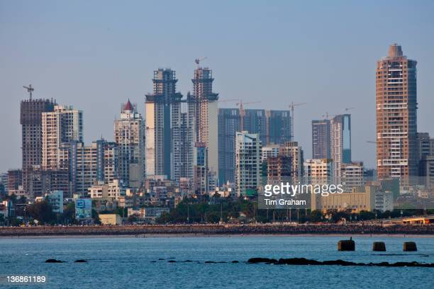 Extensive new development in business district a sign of economic growth by twin towers in Tardeo South Mumbai India from Nariman Point