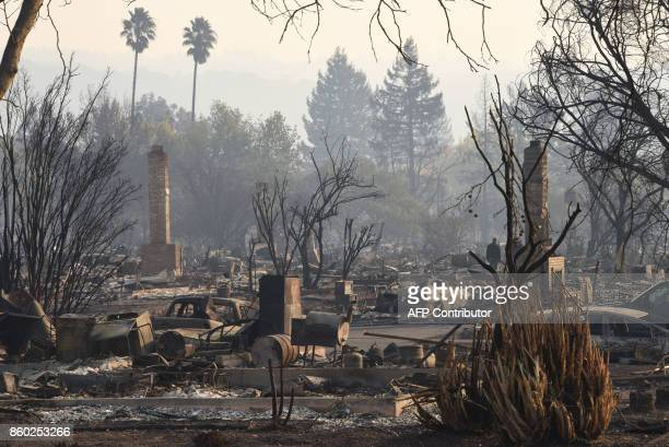 Extensive residential devastation is seen after wildfires ripped through the Coffey Park neighborhood of Santa Rosa California on October 11 2017 The...