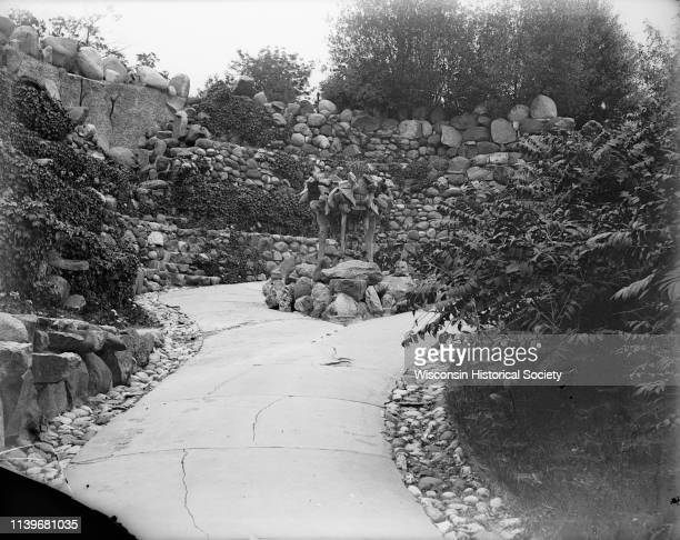 Extensive stonework lines the garden path at the Ceylon Building which is originally from the Columbian Exposition in Chicago Lake Geneva Wisconsin...