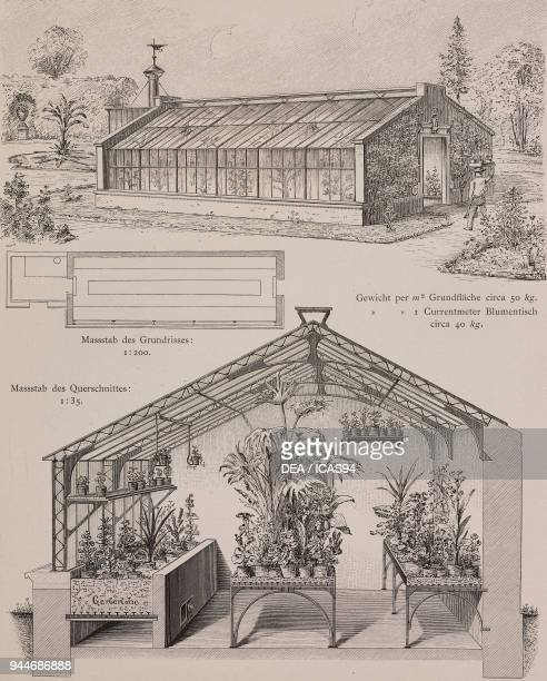 Exterior and interior of doubleglazed glasshouses for cultivating plants engraving Skizzen und Typen plate 168 designs by Rudolph Philip Waagner 1891