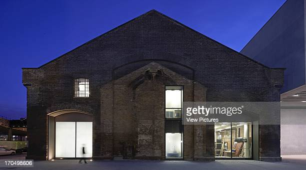 Exterior at night Central Saint Martins London United Kingdom Architect Stanton Williams 2011
