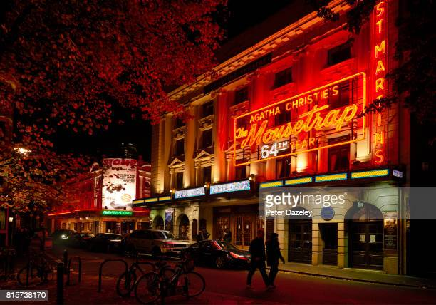 Exterior at night of St Martins Theatre the play Mousetrap is running there on July 14 2017 in London