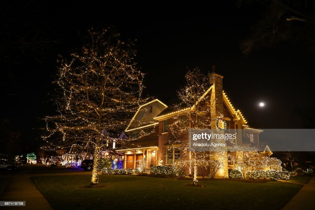 exterior christmas lights of the house of a farmer couple tom and tina grusecki