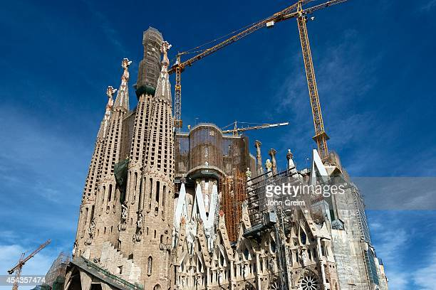 FAMILIA BARCELONA CATALONIA SPAIN Exterior construction of Basilica Sagrada Família
