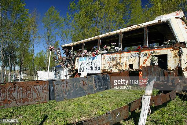 Exterior del transporte de pasajeros en el cual murio la cantante Gilda el cual se encuentra cerca de un santuario levantado en su honor a 129 km de...