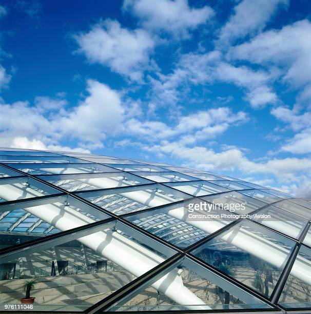 Exterior detail of largest glass span roof Great Glass House National Botanic House of Wales Carmarthenshire Wales United Kingdom Designed by Norman...