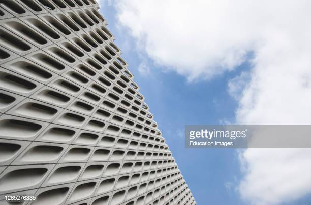 Exterior Detail of The Broad Contemporary Art Museum and Sky, Los Angeles, California, USA.