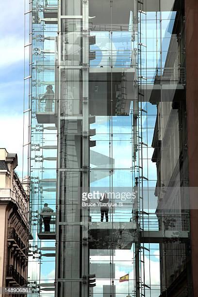Exterior elevators of Reina Sofia National Art Museum (Museo Nacional de Arte Reina Sofia).