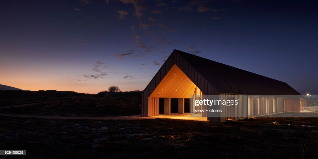 Exterior Facade At Dusk Showing Interior Lights In Connnemara Bog. Pearse  Visitor And Cultural Centre