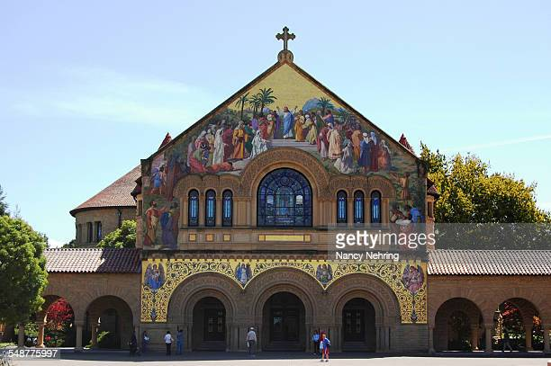 Exterior facade of Stanford Memorial Church Stanford University Stanford California USA The facade mosaic is 'Christ Welcoming the Righteous into the...