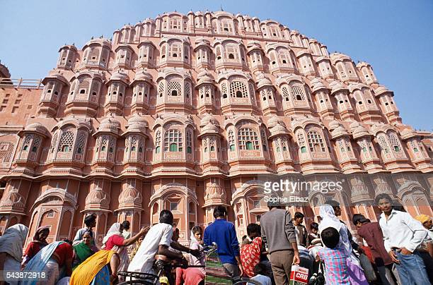 Exterior facade of the fabled Hawa Mahal or 'Palace of the Winds' in the pink city of Jaipur The fivestorey structure hewed from pink sandstone...