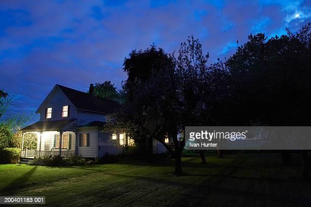 Exterior farm house front yard, dusk