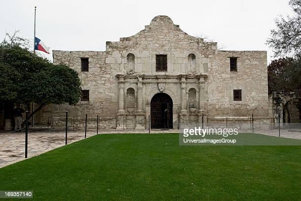 Exterior front view of the Alamo in downtown San Antonio Texas