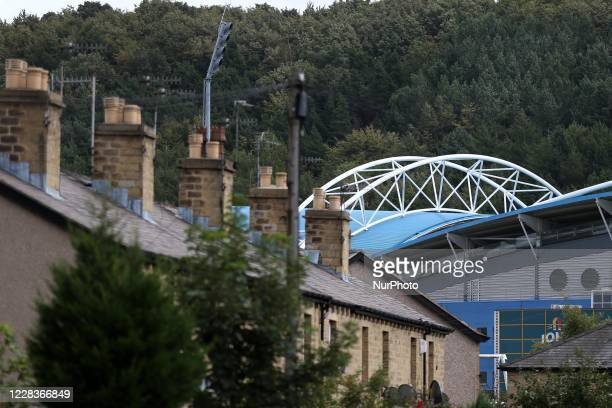 Exterior General View of the John Smiths Stadium prior to the Carabao Cup 1st round match between Huddersfield Town and Rochdale at the John Smith's...