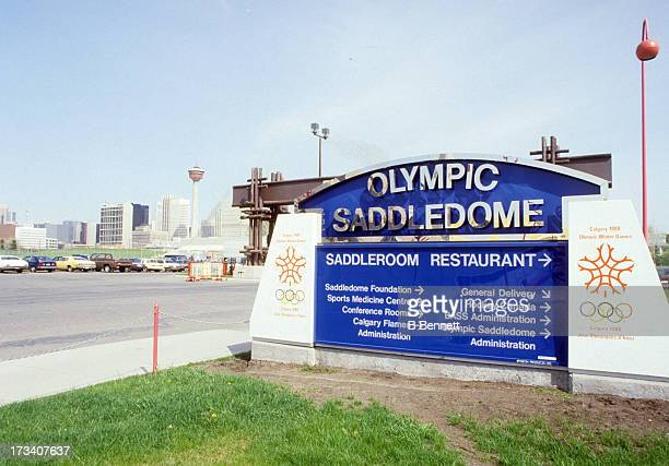Exterior general view of the Olympic Saddledome home of the Calgary Flames in August 1988 in Calgary Alberta Canada