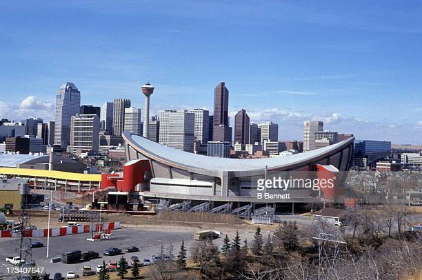 Exterior, general view of the Olympic Saddledome, home of the Calgary Flames in April, 1994 in Calgary, Alberta, Canada.