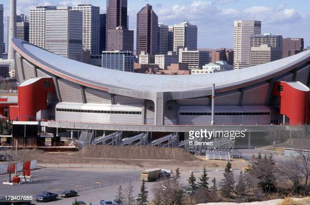 Exterior general view of the Olympic Saddledome home of the Calgary Flames in April 1994 in Calgary Alberta Canada