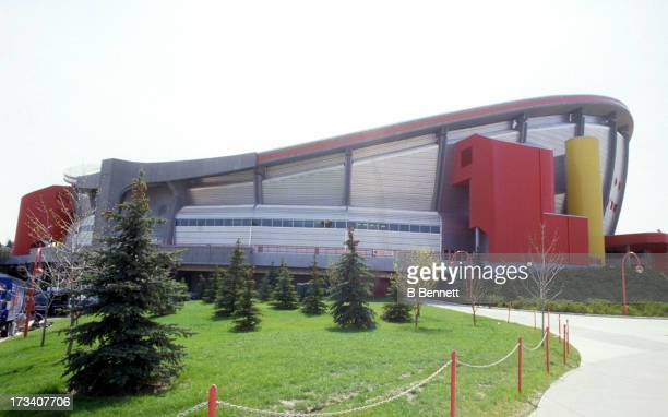 Exterior, general view of the Olympic Saddledome, home of the Calgary Flames in May, 1989 in Calgary, Alberta, Canada.
