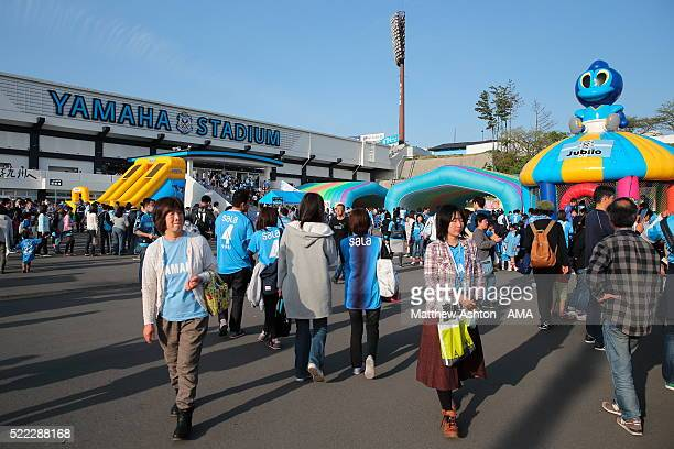 Exterior general view of the outside of the Yamaha Stadium as fans walk around before the J.League match between Jubilo Iwata and Yokohama F.Marinos...
