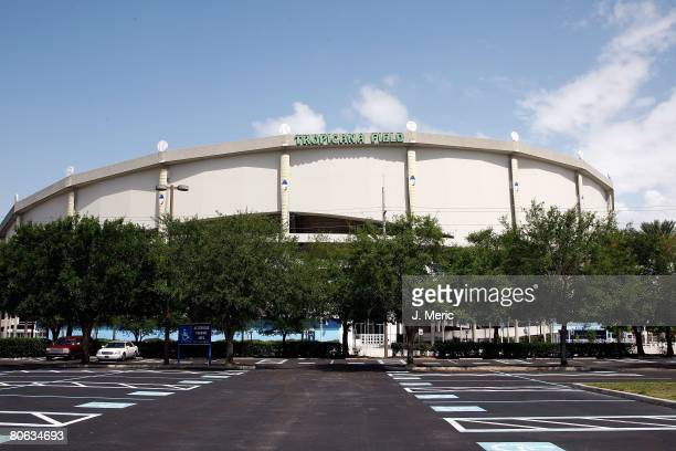 Exterior general view of Tropicana Field prior to the opening day game between the Seattle Mariners and the Tampa Bay Rays on April 8 2008 at...