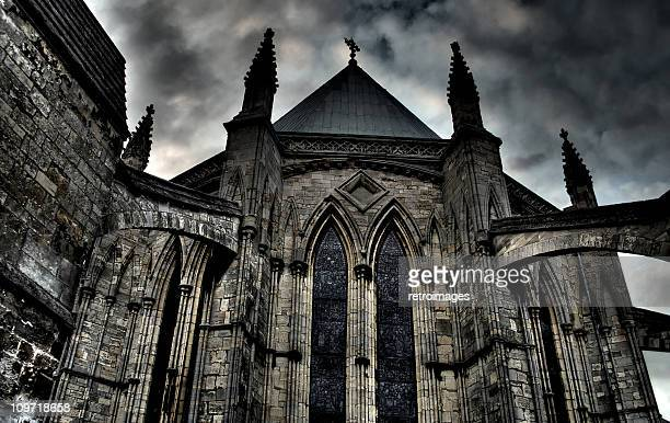 exterior hdr image of lincoln cathedral chapter house, england - flying buttress stock photos and pictures