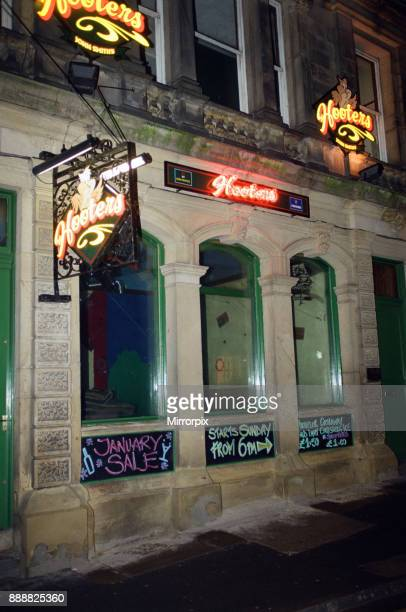 Exterior night shot of Hooters bar in Driffield Photographed in relation to an alleged arrest of footballer Curtis Woodhouse 24th January 2000