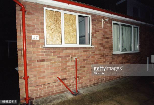 Exterior night shot of partially boarded up building in Driffield Photographed in relation to an alleged arrest of footballer Curtis Woodhouse 24th...