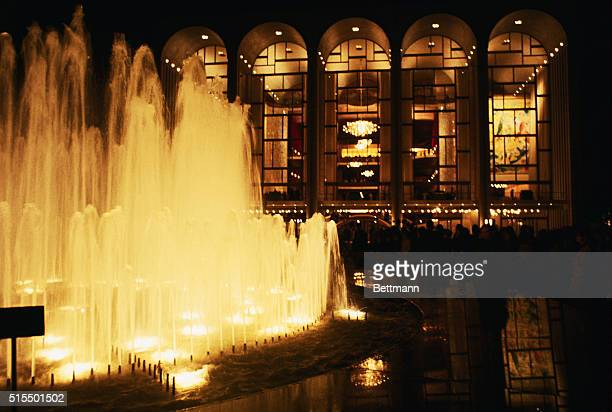 Exterior night view if new Metropolitan Opera House with Fountain Predominating in foreground