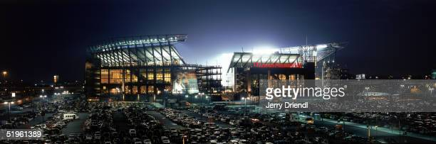 Exterior night view of Lincoln Financial Field, home of the Philadelphia Eagles during a game against the Washington Redskins on November 21, 2004 in...