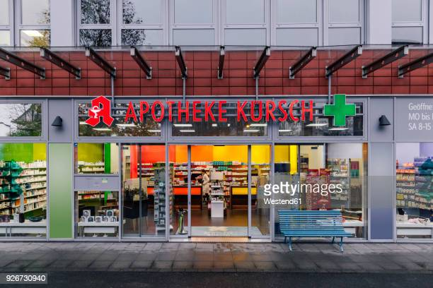 exterior of a pharmacy - apotheke stock-fotos und bilder