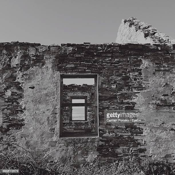 Exterior Of Abandoned House Against Clear Sky