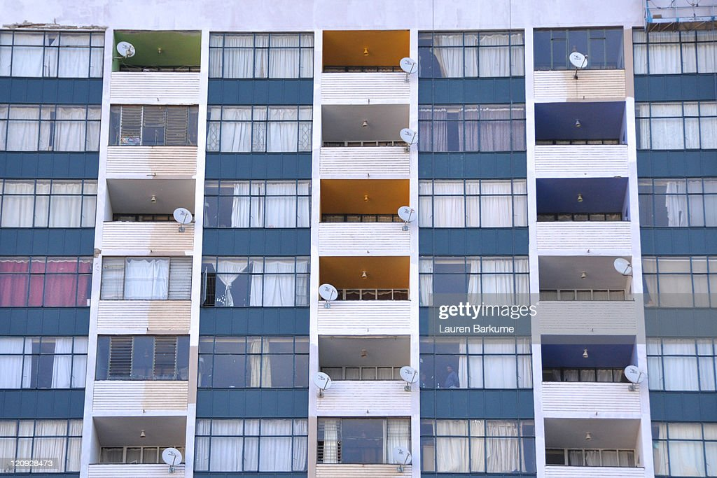 exterior of apartment building painted in colors stock photo getty