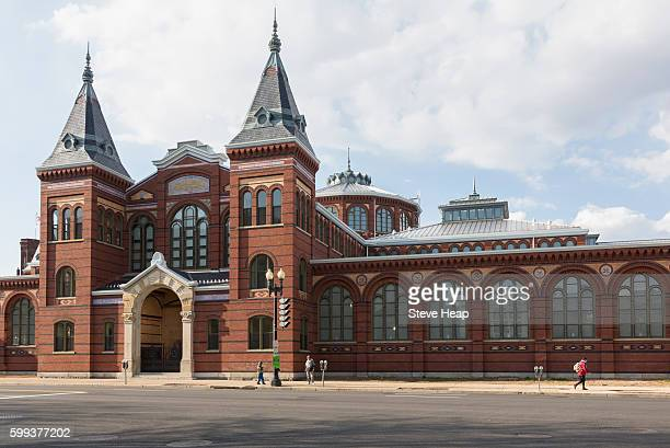 exterior of arts and industries building of smithsonian institution in washington dc, usa - smithsonian institution stock pictures, royalty-free photos & images