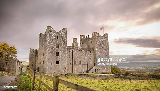 Exterior of Bolton Castle, a 14th century Grade I listed building and a Scheduled Ancient Monument.  Mary Queen of Scots resided here in the 16th century.  It is a popular tourist destination