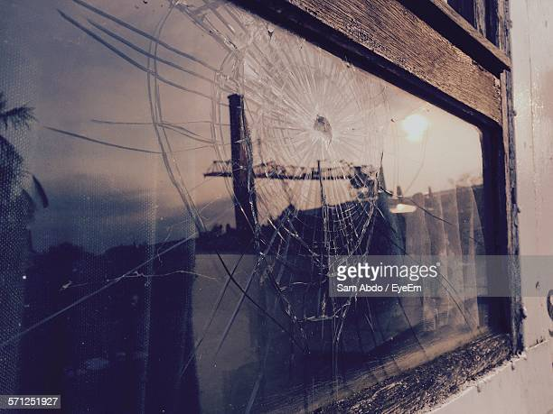 Exterior Of Broken Glass Window