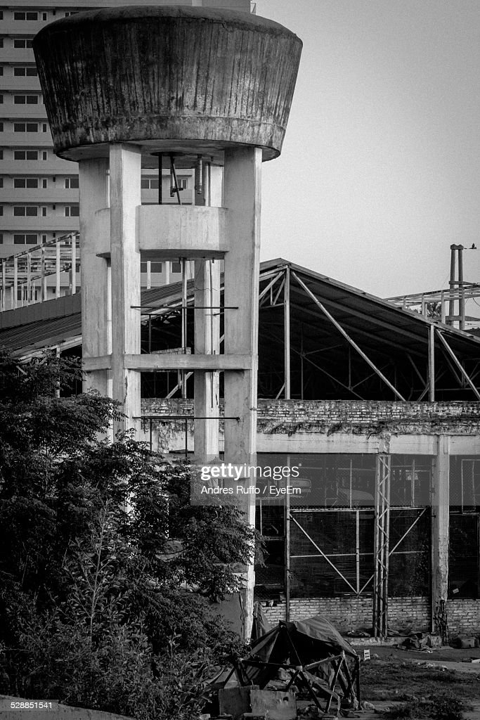Exterior Of Buildings And Water Tower : Stock Photo
