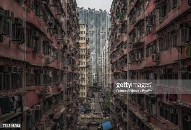 exterior of buildings at kowloon in city - kowloon peninsula stock pictures, royalty-free photos & images