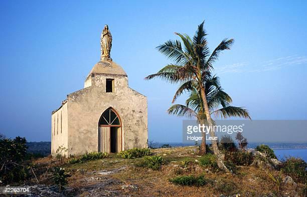 Exterior of cliffside Catholic chapel, New Caledonia