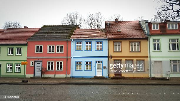 exterior of colorful houses - terraced_house stock pictures, royalty-free photos & images