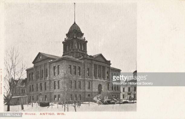 Exterior of Court House in winter Antigo Wisconsin 1915