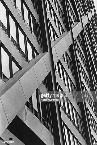 Exterior of diagonal cross beams of the John Hancock building, which creates odd-shaped windows.