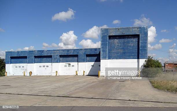 Exterior of disused hanger at the RAF Upper Heyford Base, used by the United States Air Force Strategic Air Command strategic bombers and later...