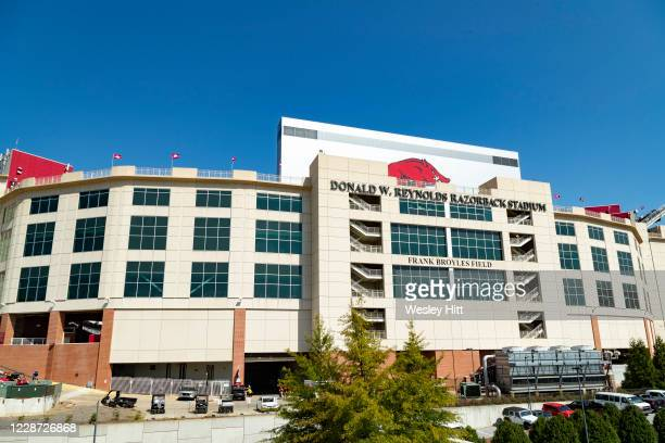 Exterior of Donald W. Reynolds Razorback Stadium before a game between the Georgia Bulldogs and the Arkansas Razorbacks at Razorback Stadium on...