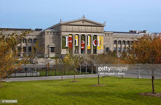 Exterior of Field Museum showing the south side Museum facade and the pedestrian walkway used by Museum Campus visitors The view includes trees from...
