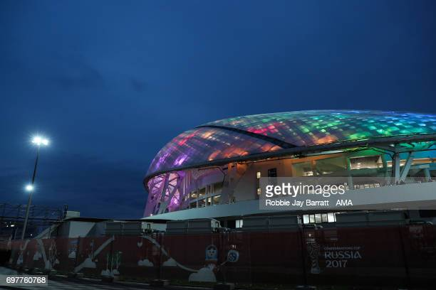 Exterior of Fisht Stadium home stadium of Russia host stadium for the FIFA World Cup 2018 at dusk post match the FIFA Confederations Cup Russia 2017...